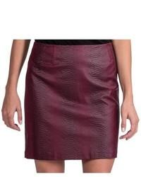 Amanda + Chelsea Faux Leather Snake Skirt Burgundy