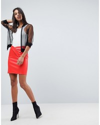 ASOS DESIGN Asos Textured Leather Look Mini Skirt