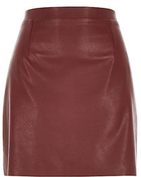River Island Burgundy Red Leather Look A Line Skirt