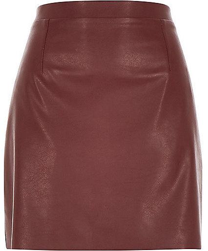 River Island Burgundy Red Leather Look A Line Skirt | Where to buy ...