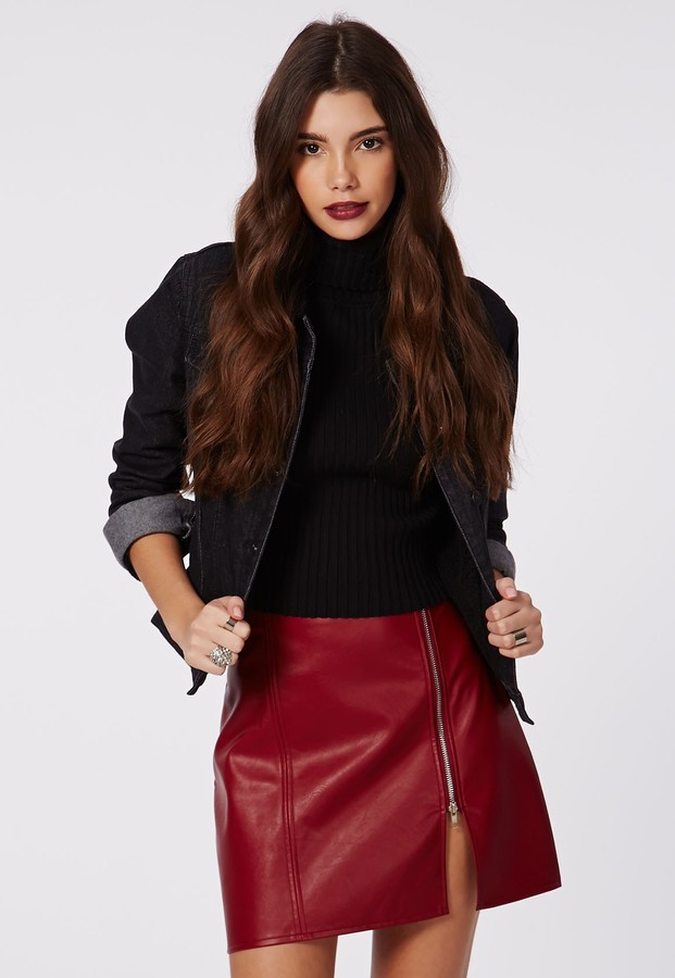 authorized site fashion styles stable quality $40, Missguided Naomi Faux Leather Zip A Line Skirt Burgundy