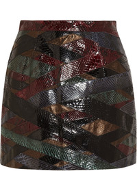 Patchwork python and metallic leather mini skirt medium 840097