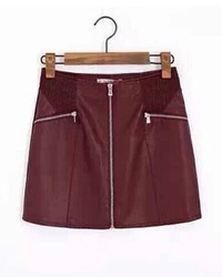 ChicNova Pu Zipper Skirt