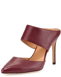 Burgundy Leather Mules