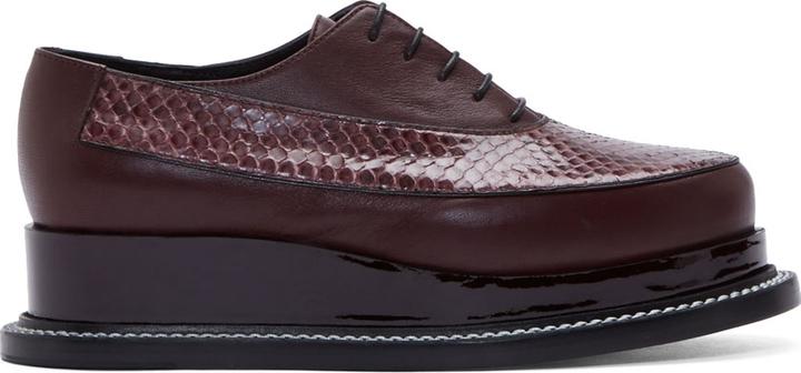 ... Oxford Shoes Jil Sander Burgundy Embossed Leather Platform Oxfords ...