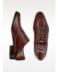 Handmade burgundy italian leather wingtip oxford shoes medium 19032