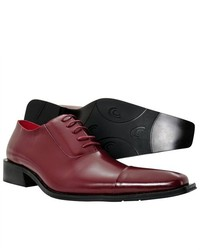 Zota Burgundy Wine Oxford Lace Up Leather Pointed Shoes