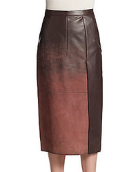 Acid wash leather midi skirt medium 352817