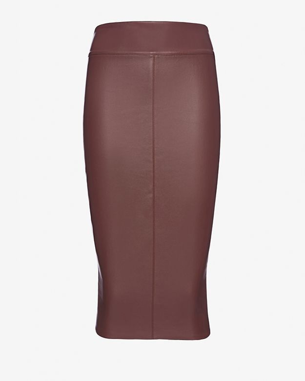 Bailey 44 Faux Leather Pencil Skirt Wine | Where to buy & how to wear