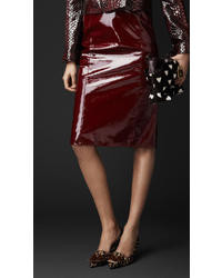 Burberry Laminated Leather Pencil Skirt