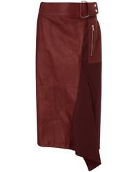 3.1 Phillip Lim Burgundy Leather Flight Details Skirt