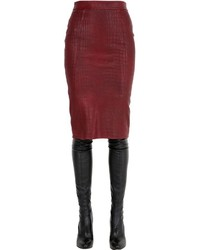 Croc Embossed Nappa Leather Pencil Skirt