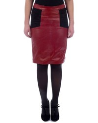 Excelled colorblock leather pencil skirt medium 352814