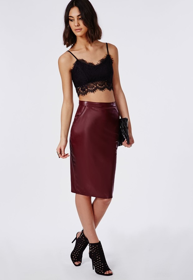Missguided Mariota Faux Leather Pencil Skirt Burgundy | Where to ...