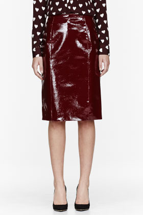 a005ee1b78 Burberry Prorsum Red Patent Leather Silk Skirt, $1,995 | SSENSE ...