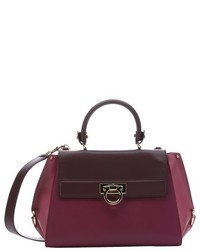 Salvatore Ferragamo Burgundy And Pink Calfskin Medium Sofia Convertible Satchel