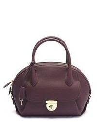 Salvatore Ferragamo Fiamma Leather Satchel Handbag Burgundy