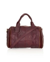 Topshop Leather Zip Barrel Bag Burgundy