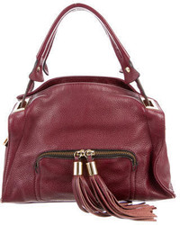 Sandro Tassel Embellished Pebbled Leather Satchel