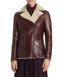 Lacquered leather shearling jacket medium 4414843