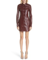 Burgundy Leather Sheath Dress