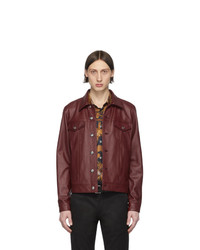 Paul Smith Red Leather Trucker Jacket