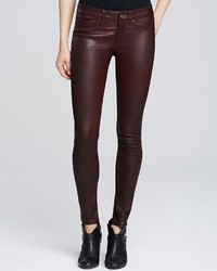Rag and Bone Rag Bonejean Leather Skinny In Washed Burgundy