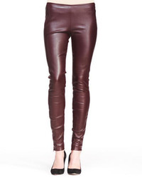 The Row Stretch Leather Skinny Pants Mahogany