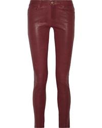 Frame Le Skinny Leather Pants Burgundy