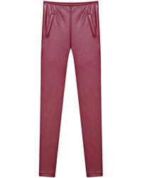 Pockets Slim Pu Wine Red Pant