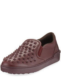 Valentino Rockstud Leather Slip On Sneaker Purple