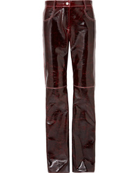 Burgundy Leather Tapered Pants