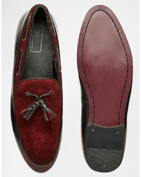 dae17f77437 ... Asos Brand Tassel Loafers In Burgundy Suede And Leather Mix ...