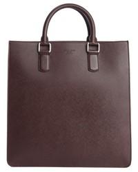 Giorgio Armani Burgundy Leather Top Handle Messenger Bag