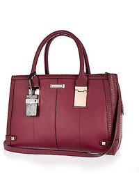 River Island Dark Red Hinge Handle Large Tote Handbag