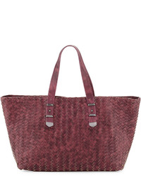 Neiman Marcus Distressed Woven Leather Tote Bag Burgundy