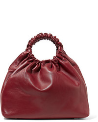 The Row Double Circle Medium Leather Tote Burgundy