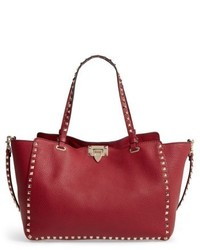 Garavani medium rockstud grained calfskin leather tote burgundy medium 4950275