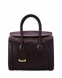 Alexander McQueen Heroine 35 Small Croc Embossed Leather Tote Bag