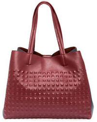 E.m. Knock Em Dead Navy Blue And Burgundy Tote