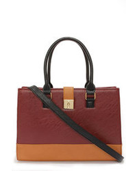 Lulus Around The Color Block Black And Tan Tote