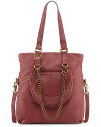 Ash Ziggy Medium Leather Tote Wine