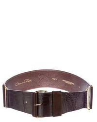 Oscar de la Renta Alligator Trimmed Waist Belt