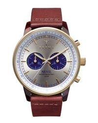 Triwa Blue Nevil Chronograph Leather Strap Watch