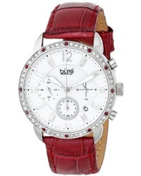 Burgi Bur089bur Silver Chronograph Quartz Watch With White Mother Of Pearl And White Dial With Wine Leather Strap