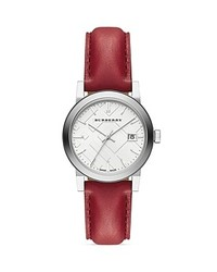 Burberry Red Leather Strap Watch 34mm