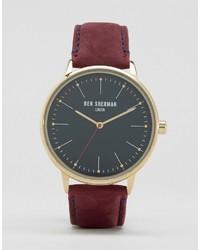 Ben Sherman Burgundy Leather Watch