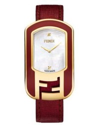 Fendi Chameleon Enamel Mother Of Pearl Goldtone Stainless Steel Leather Large Signature Strap Watch