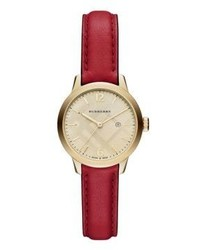 Burberry Goldtone Ip Stainless Steel Leather Strap Watchred