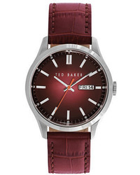 Ted Baker London Dress Sport Stainless Steel Leather Strap Watch